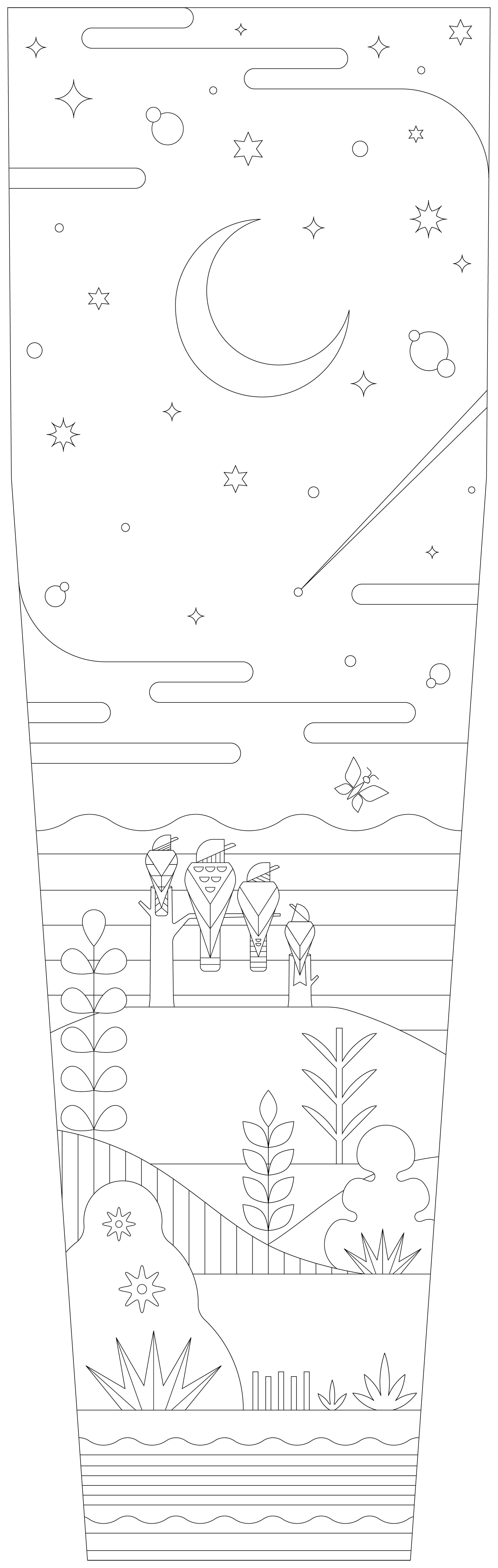 Illustratie Sterrenkijken met dieren - vogels Kleurjekist